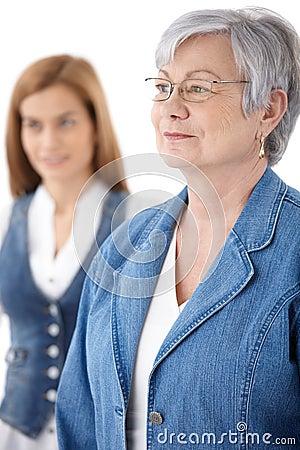 Portrait of senior woman in jeans
