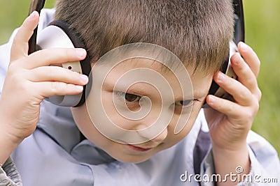 Portrait of serene boy in headphones