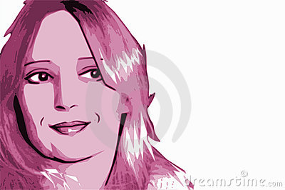 Pink Woman Portrait Cartoon