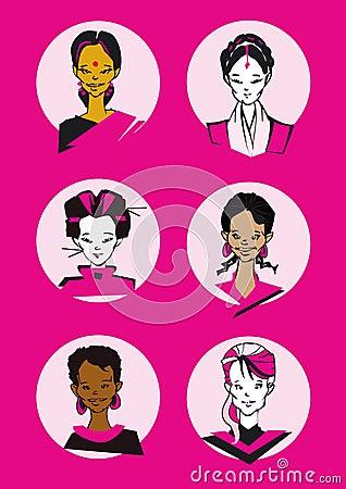 Diversity Woman Faces- Cartoon
