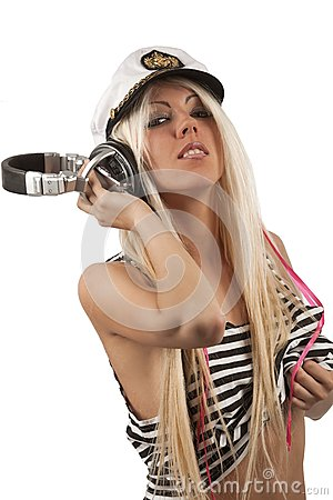 Portrait of sexy girl listening a headphone