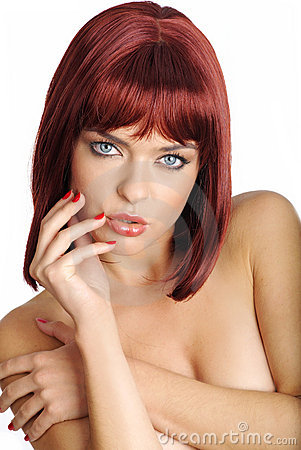 Portrait sexy woman with red hair