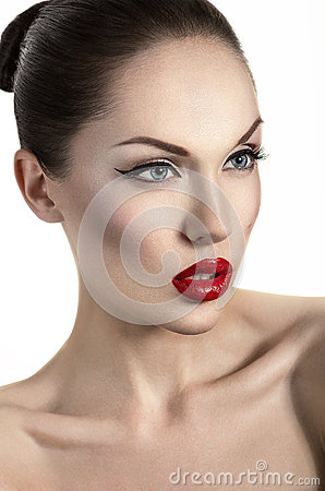 Portrait of sexy woman with red lips