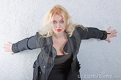 Portrait of sexy young blonde woman