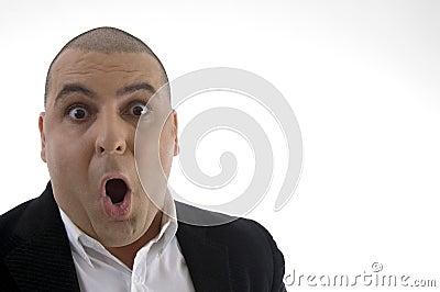 Portrait of shocked businessman