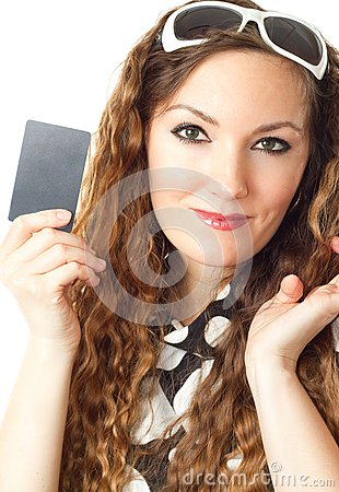portrait of shopping woman holding credit card