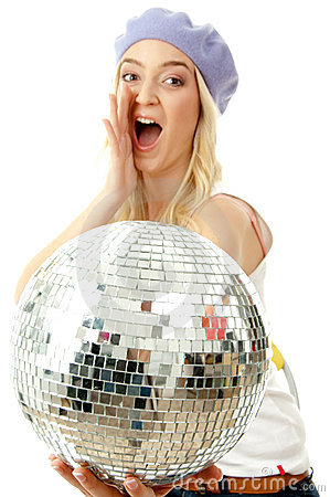 Portrait of shouting model holding disco ball