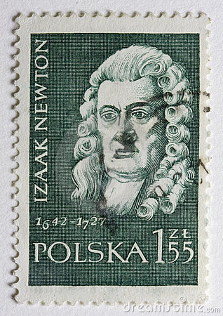 Portrait of Sir Isaac Newton on a post stamp