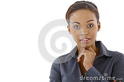 Portrait of smart ethnic woman
