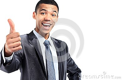 Portrait of a smiling African American business man gesturing a thumbs up sign
