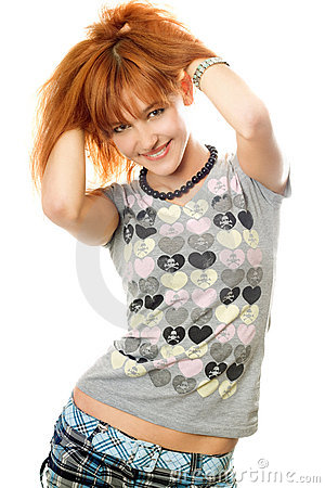 Portrait of smiling attractive red-haired girl