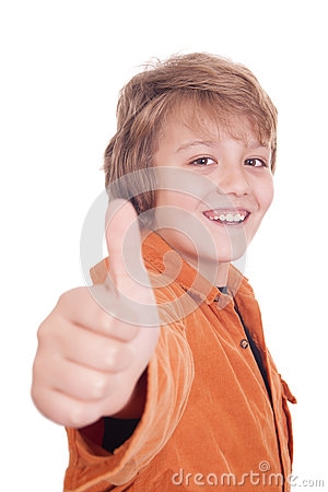 Portrait of a smiling boy holding his thumb up