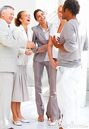 Portrait Of Smiling Business People Conversing Stock Photos - Image: 6523883
