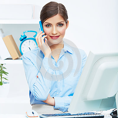 Portrait of smiling business woman call center ope