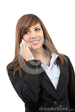 Portrait of smiling business woman on cell phone.