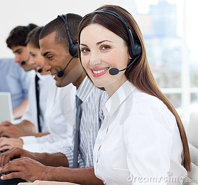 Portrait of smiling customer service agents