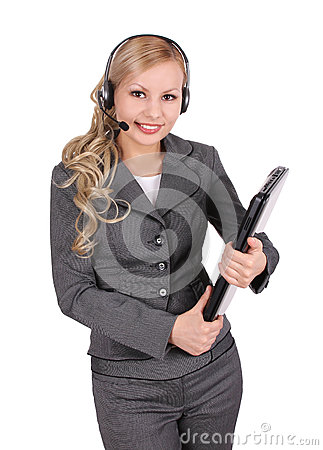 Portrait of smiling customer support operator