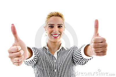 Portrait of smiling female with thumbs up