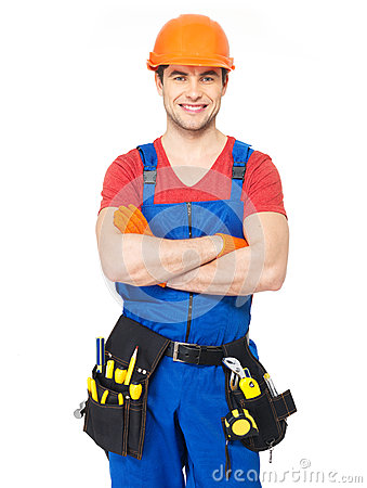 Portrait of smiling handyman with tools