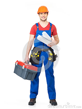 Smiling handyman with tools and paper