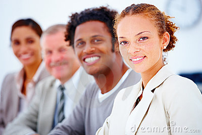 Portrait of a smiling happy business team