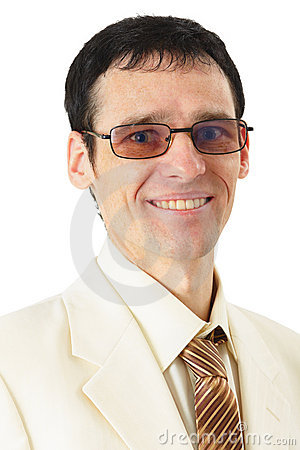 Portrait of smiling man in suit on white