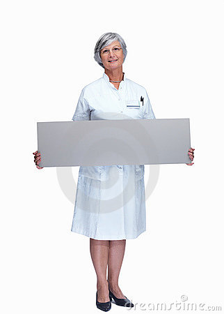 Portrait of a smiling nurse with a billboard