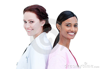 Portrait of smiling nurse and doctor standing