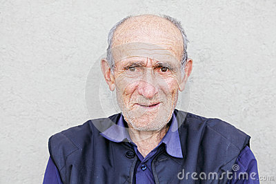 Portrait of smiling old hoary man