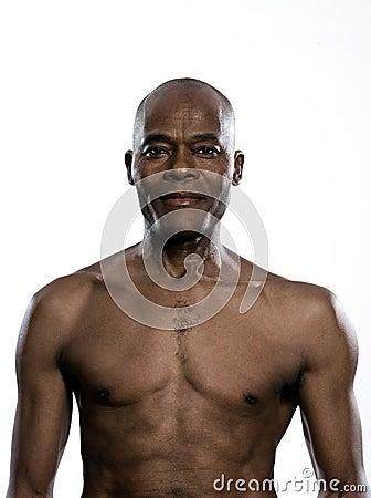 Portrait of smiling shirtless man