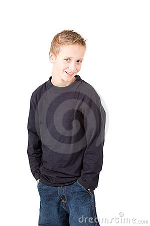 Portrait of a smiling standing young boy