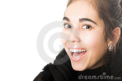 Portrait of smiling young brunette. Isolated