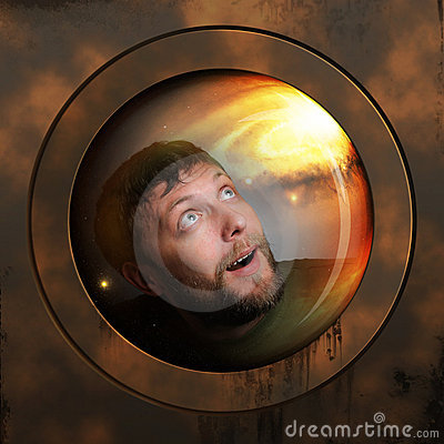Portrait of a spaceman in a spaceship