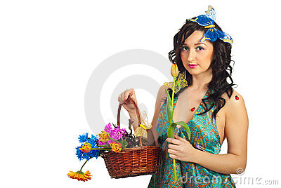 Portrait of spring girl with flowers