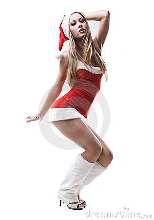 Portrait of squating beautiful sexy Santa girl