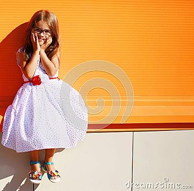 Free Portrait Street Fashion Little Girl In Dress Royalty Free Stock Photo - 42980405
