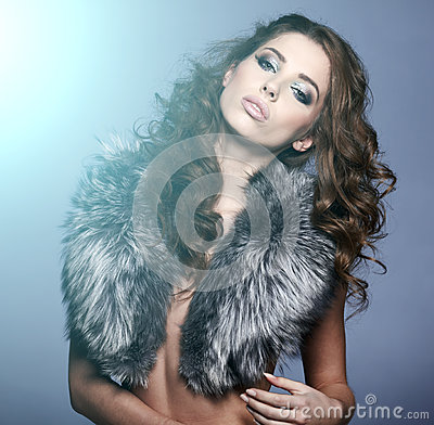 Portrait of stylish woman in fur
