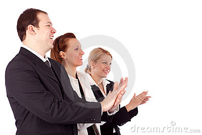 Portrait of successful business people clapping