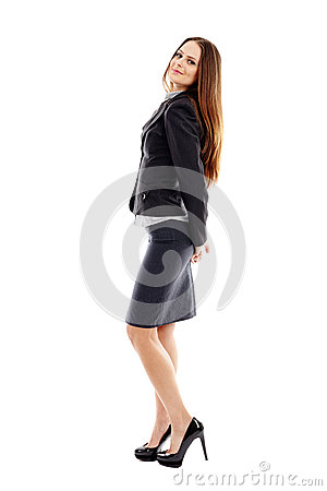 Portrait of successful businesswoman on white background