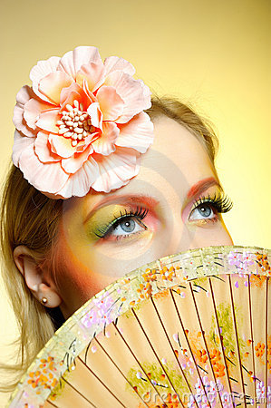 Portrait of summer fashion creative eye make-up