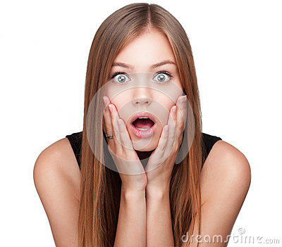 Portrait of surprised beautiful girl