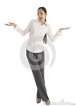 Portrait Of Surprised Businesswoman Gesturing