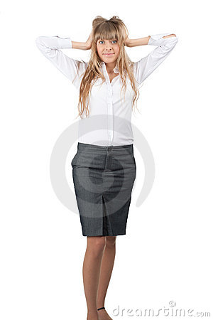 Portrait of surprised excited businesswoman