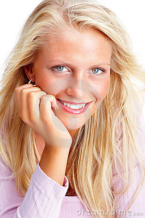 Portrait of a sweet young female smiling