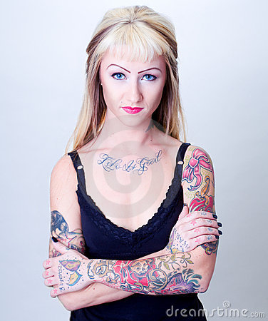 Portrait Of Tattoo Girl With Blond Hair