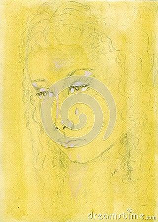 Pencil sketch portrait of a sad tearful woman