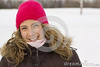 Portrait of a teen in winter