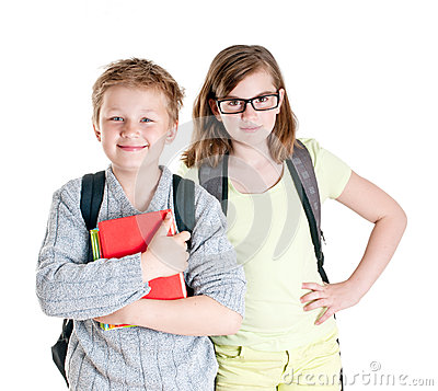 Portrait of teenage girl and boy.
