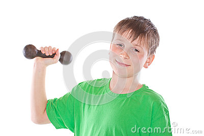 Portrait of a teenager with dumbbells