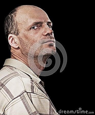 Portrait of thin unshaven man